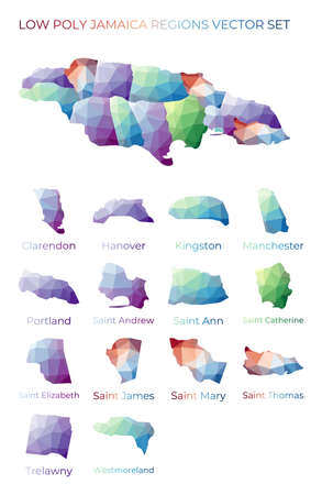 Jamaican low poly regions. Polygonal map of Jamaica with regions. Geometric maps for your design. Superb vector illustration. 일러스트
