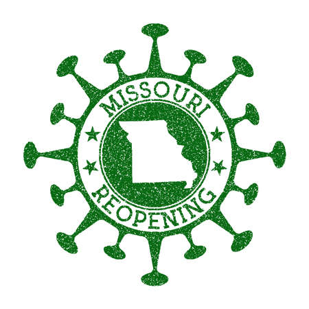 Missouri Reopening Stamp. Green round badge of us state with map of Missouri. Us state opening after lockdown. Vector illustration. Illustration