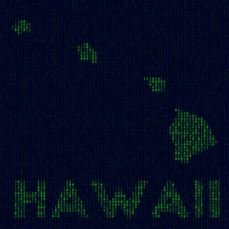 Digital Hawaii logo. US state symbol in hacker style. Binary code map of Hawaii with US state name. Creative vector illustration.