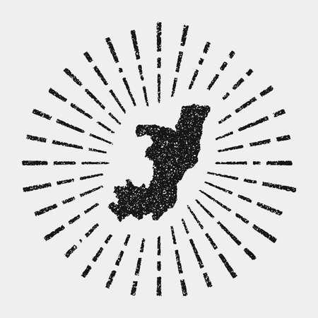 Vintage map of Congo. Grunge sunburst around the country. Black Congo shape with sun rays on white background. Vector illustration.