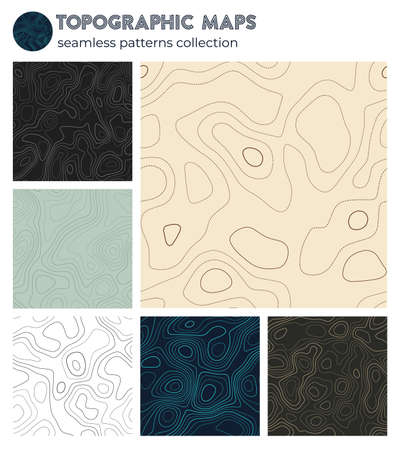 Topographic maps. Attractive isoline patterns, seamless design. Artistic tileable background. Vector illustration. Banque d'images - 150752817