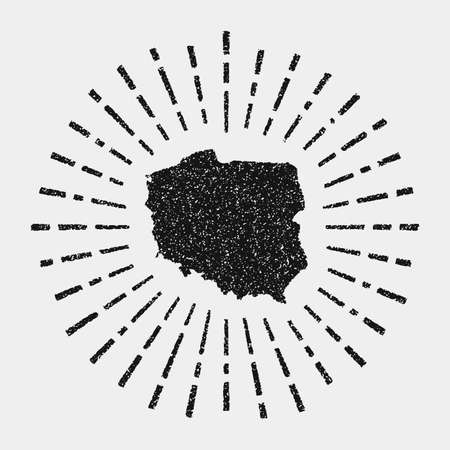 Vintage map of Poland. Grunge sunburst around the country. Black Poland shape with sun rays on white background. Vector illustration.