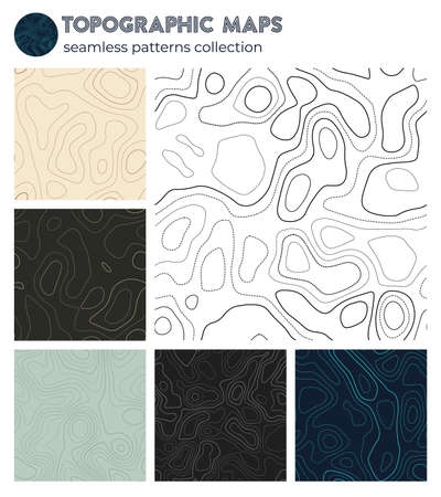 Topographic maps. Artistic isoline patterns, seamless design. Stylish tileable background. Vector illustration. 矢量图像