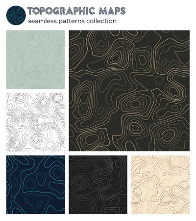 Topographic maps. Authentic isoline patterns, seamless design. Artistic tileable background. Vector illustration. Banque d'images - 150752839