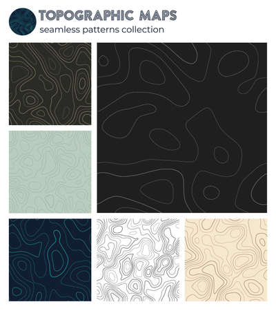Topographic maps. Beautiful isoline patterns, seamless design. Attractive tileable background. Vector illustration. Banque d'images - 150752843