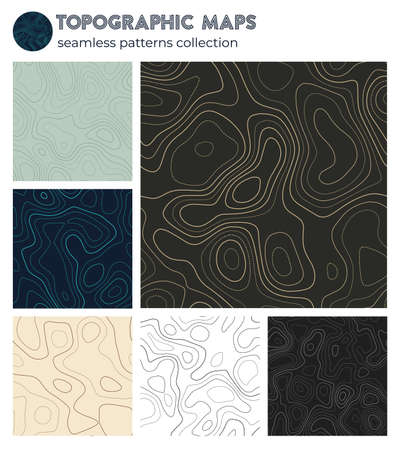 Topographic maps. Astonishing isoline patterns, seamless design. Charming tileable background. Vector illustration.