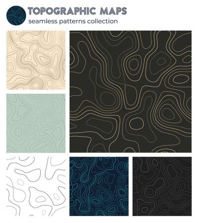 Topographic maps. Beautiful isoline patterns, seamless design. Creative tileable background. Vector illustration.
