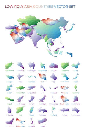 Asian low poly regions. Polygonal map of Asia with regions. Geometric maps for your design. Artistic vector illustration.
