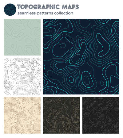 Topographic maps. Artistic isoline patterns, seamless design. Elegant tileable background. Vector illustration. Banque d'images - 150752853