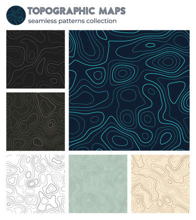 Topographic maps. Amazing isoline patterns, seamless design. Trendy tileable background. Vector illustration. 矢量图像