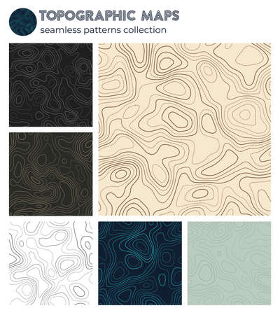Topographic maps. Attractive isoline patterns, seamless design. Appealing tileable background. Vector illustration. Banque d'images - 150752866