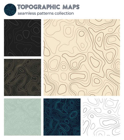 Topographic maps. Appealing isoline patterns, seamless design. Classy tileable background. Vector illustration.