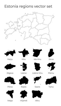 Estonia map with shapes of regions. Blank vector map of the Country with regions. Borders of the country for your infographic. Vector illustration. 일러스트