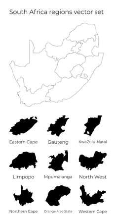 South Africa map with shapes of regions. Blank vector map of the Country with regions. Borders of the country for your infographic. Vector illustration.