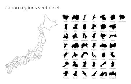 Japan map with shapes of regions. Blank vector map of the Country with regions. Borders of the country for your infographic. Vector illustration.