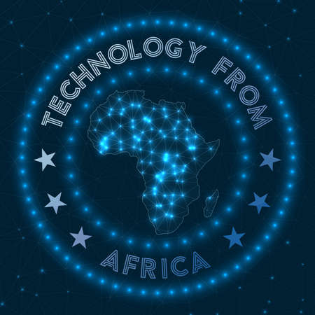 Technology From Africa. Futuristic geometric badge of the continent. Technological concept. Round Africa logo. Vector illustration. 일러스트