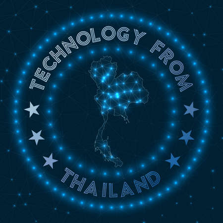 Technology From Thailand. Futuristic geometric badge of the country. Technological concept. Round Thailand logo. Vector illustration.