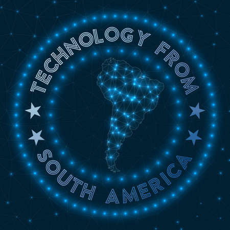 Technology From South America. Futuristic geometric badge of the continent. Technological concept. Round South America logo. Vector illustration.