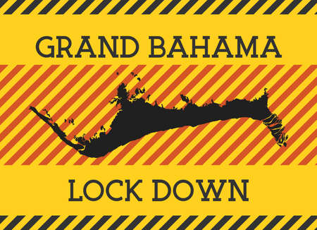 Grand Bahama Lock Down Sign. Yellow island pandemic danger icon. Vector illustration.