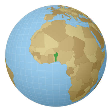 Globe centered to Benin. Country highlighted with green color on world map. Satellite projection view. Vector illustration. 矢量图像