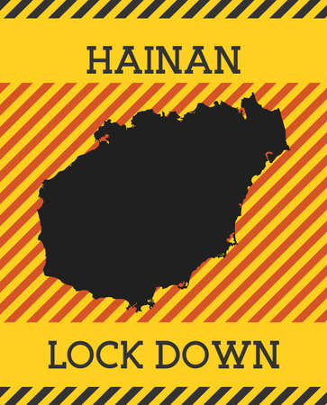 Hainan Lock Down Sign. Yellow island pandemic danger icon. Vector illustration.