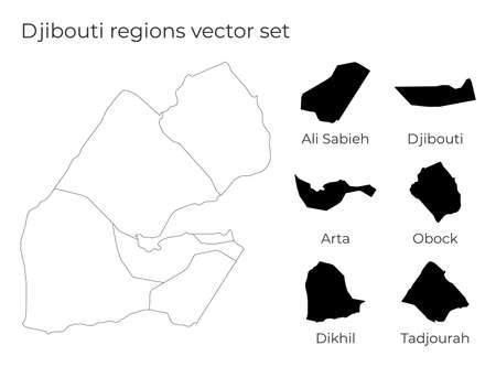 Djibouti map with shapes of regions. Blank vector map of the Country with regions. Borders of the country for your infographic. Vector illustration. 向量圖像