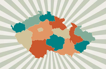 Czech Republic map. Poster with map of the country in retro color palette. Shape of Czech Republic with sunburst rays background. Vector illustration.
