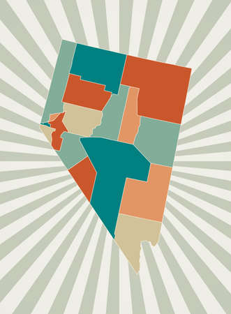 Nevada map. Poster with map of the us state in retro color palette. Shape of Nevada with sunburst rays background. Vector illustration.