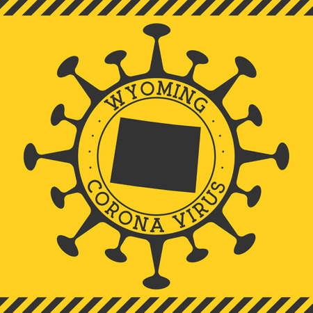 Corona virus in Wyoming sign. Round badge with shape of virus and Wyoming map. Yellow us state epidemy lock down stamp. Vector illustration.