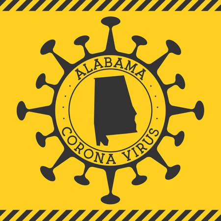 Corona virus in Alabama sign. Round badge with shape of virus and Alabama map. Yellow us state epidemy lock down stamp. Vector illustration.