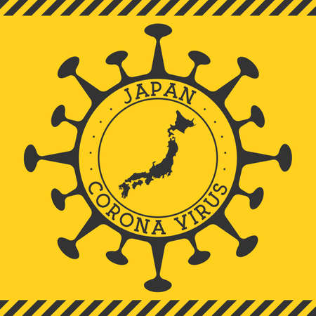 Corona virus in Japan sign. Round badge with shape of virus and Japan map. Yellow country epidemy lock down stamp. Vector illustration.