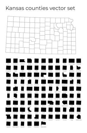 Kansas map with shapes of regions. Blank vector map of the Us State with counties. Borders of the us state for your infographic. Vector illustration.