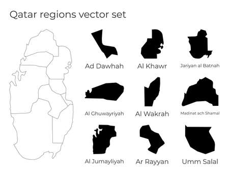 Qatar map with shapes of regions. Blank vector map of the Country with regions. Borders of the country for your infographic. Vector illustration.