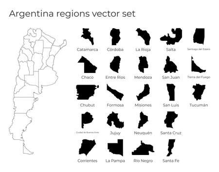 Argentina map with shapes of regions. Blank vector map of the Country with regions. Borders of the country for your infographic. Vector illustration.