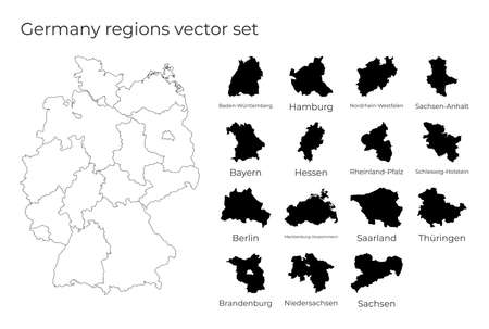 Germany map with shapes of regions. Blank vector map of the Country with regions. Borders of the country for your infographic. Vector illustration.