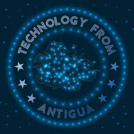Technology From Antigua. Futuristic geometric badge of the island. Technological concept.
