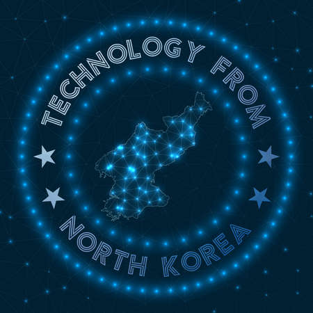 Technology From North Korea. Futuristic geometric badge of the country. Technological concept. Иллюстрация