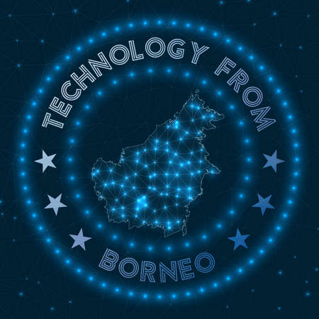 Technology From Borneo. Futuristic geometric badge of the island. Technological concept.