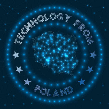 Technology From Poland. Futuristic geometric badge of the country. Technological concept.