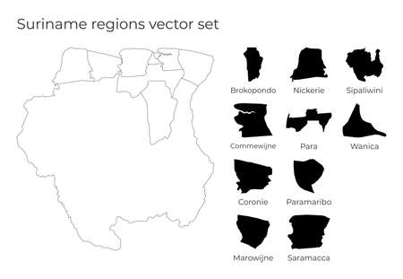 Suriname map with shapes of regions. Blank vector map of the Country with regions. Borders of the country for your infographic. Vector illustration. Иллюстрация