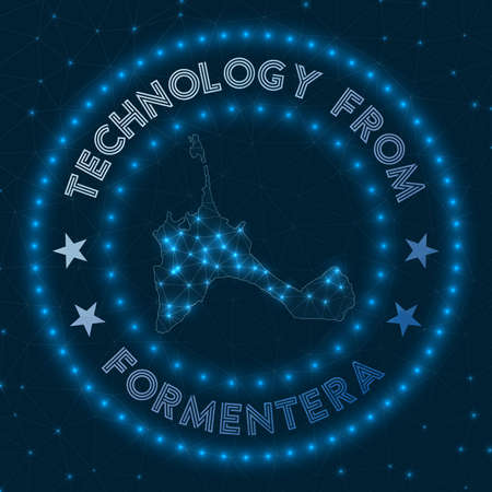 Technology From Formentera. Futuristic geometric badge of the island. Technological concept. Иллюстрация