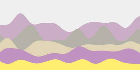 Abstract yellow purple red green hills background. Colorful waves superb vector illustration.