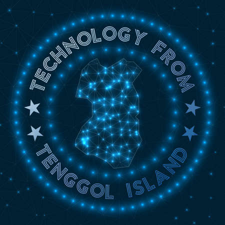 Technology From Tenggol Island. Futuristic geometric badge of the island. Technological concept.   Vector illustration.