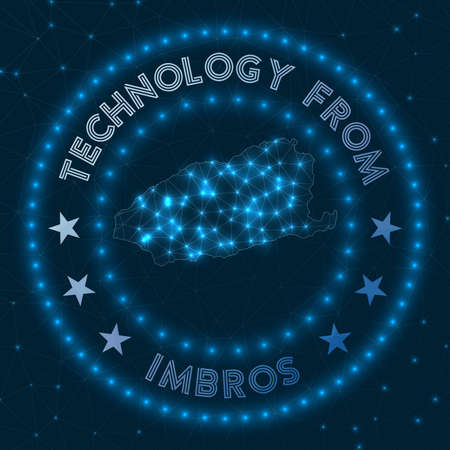 Technology From Imbros. Futuristic geometric badge of the island. Technological concept.   Vector illustration. Иллюстрация