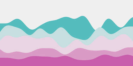Abstract teal purple hills background. Colorful waves classy vector illustration.