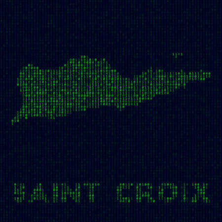 Island symbol in hacker style. Binary code map of Saint Croix with island name. Attractive vector illustration.