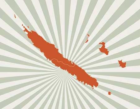 New Caledonia map. Poster with map of the country in retro color palette. Shape of New Caledonia with sunburst rays background. Vector illustration.
