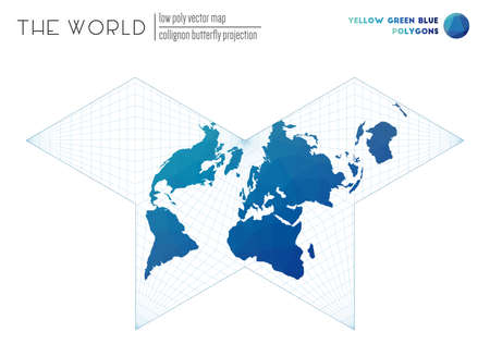Triangular mesh of the world. Collignon butterfly projection of the world. Yellow Green Blue colored polygons. Neat vector illustration.