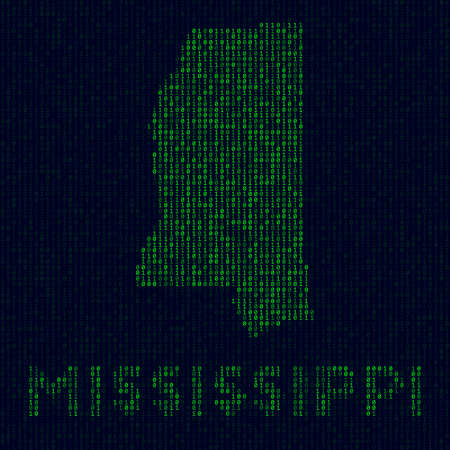 US state symbol in hacker style. Binary code map of Mississippi with US state name. Attractive vector illustration.