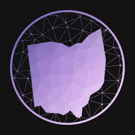 Ohio icon. Vector polygonal map of the us state. Ohio icon in geometric style. The us state map with purple low poly gradient on dark background.
